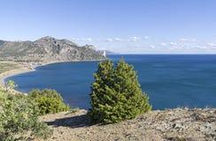 在克里米亚的黑海海岸的海湾 免版税库存照片