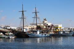 在杰尔巴岛,突尼斯海岛上的海盗船  库存图片
