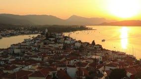 在波罗斯岛海岛上的日落在爱琴海,希腊 股票视频