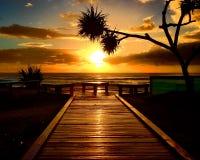 在海岸的日出 免版税库存照片