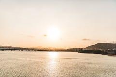 在海滩的日落在巴拿马市第2部分 免版税库存照片
