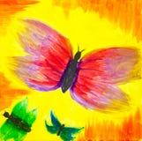 在日落的抽象蝴蝶 库存照片