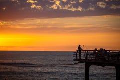在日落的Selfie在散步的大阳台在海上的 免版税库存照片