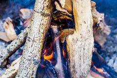 在火的灼烧的木头 库存图片