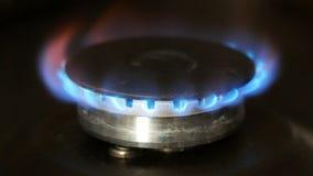 在火炉的燃烧的煤气喷燃器 股票视频