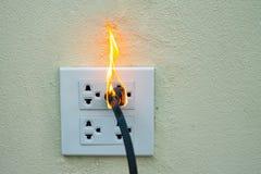 在火电线插座容器和适配器上在白色背景 免版税库存照片