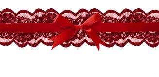 在线安排的红色鞋带和缎弓 库存图片