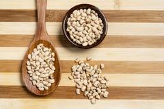 在罐和木匙子的豆罐在竹木背景 库存图片