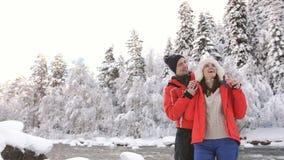 在爱的夫妇在冬天河河岸获得乐趣并且敬佩冬天自然 股票录像