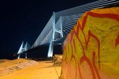 在瓦斯考de Gama Bridge的Skatepark在里斯本 蓬特的瓦斯考de Gama地下冰鞋公园 免版税图库摄影
