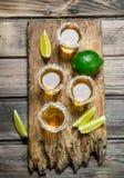 在盐一个小玻璃的龙舌兰酒  免版税库存照片