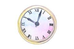 在白色背景隔绝的水彩老时钟摘要 皇族释放例证