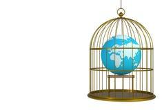 在白色背景隔绝的鸟笼里面的世界地球 皇族释放例证