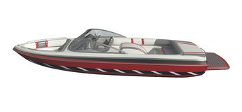 在白色背景3d例证隔绝的快速汽艇 向量例证