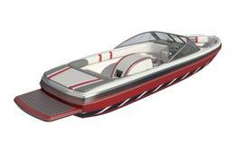 在白色背景3d例证隔绝的快速汽艇 库存例证