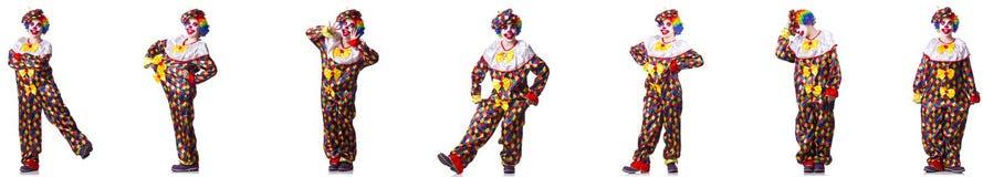 在白色隔绝的滑稽的男性小丑 图库摄影