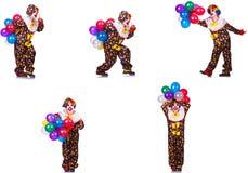 在白色隔绝的滑稽的男性小丑 库存照片