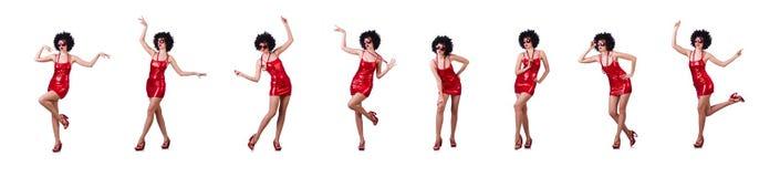 在白色隔绝的红色礼服的妇女 免版税图库摄影