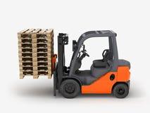 在白色3D例证隔绝的铲车装载者 皇族释放例证