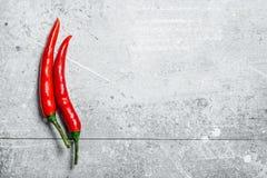 在荚的热的红辣椒 免版税图库摄影