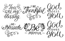 6在行情上写字的手是感激的,快乐,保佑,上帝爱您,您是我的祝福 皇族释放例证