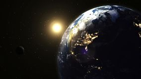 在行星地球的美好的现实日出 皇族释放例证