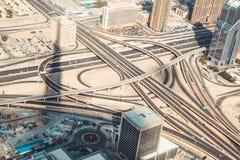 在迪拜的蝴蝶圈子从burj khalifa 库存图片