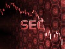 在蜡烛棍子图的红色发光的文本与bitcoin和alt硬币背景 SEC批准ETF资金的延迟决定 皇族释放例证