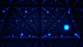 在蓝色发光的小点VJ圈行动背景3D立方体里面  库存例证