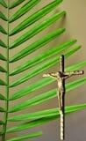 在银色耶稣受难象后的充满活力的绿色棕榈分支部分 库存图片