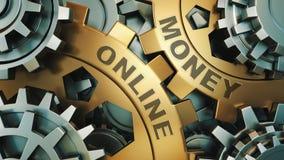 在金齿轮'在网上金钱的题字' 到达天空的企业概念金黄回归键所有权 齿轮机构 3d回报 免版税图库摄影
