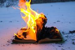在雪的燃烧的书 与文本的页在与明亮的火焰的开放书烧伤 免版税库存照片