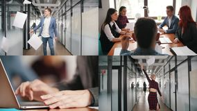4在1:企业概念 户内成功的商人 影视素材
