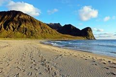 在Lofoten海岛上的海滩 库存照片