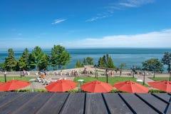 在StLawrence河的看法从旅馆大阳台,魁北克 库存图片