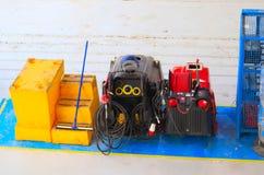 地板流动维修车间的清洁成套工具 免版税库存照片