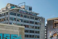 地震损伤办公楼在街市克赖斯特切奇,新西兰的南岛 免版税库存图片