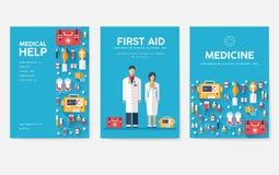 医学被设置的信息卡 医疗模板flyear,杂志,海报,书套 临床infographic概念 库存例证