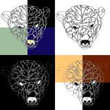 北极熊纹身花刺背景的头 库存例证