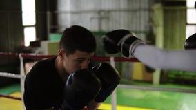 圆环的年轻男性拳击手在便服履行互相的拳打 人训练,训练罢工,保护 股票录像