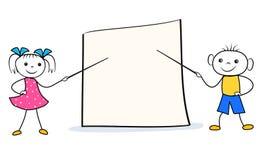 动画片女孩和男孩有尖的在空白的介绍委员会 配合或会议设计观念 库存例证