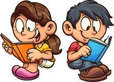 动画片男孩和女孩看书,当坐下时 向量例证