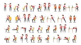 办公室锻炼集合 办公室的身体锻炼 向量例证