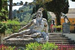 厄恩斯特艾尔特的雕塑死的阿奇里斯,阿喀琉斯宫宫殿,科孚岛海岛,希腊,欧洲 免版税库存图片
