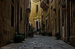 历史路在比尔古,马耳他 库存图片