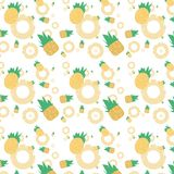 Many round pineapples, square pineapples, and pineapple slices are repeatedly combined into a seamless pattern. royalty free illustration
