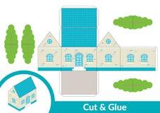 切开和胶浆房子 儿童活动页的艺术比赛 纸3d模型 也corel凹道例证向量 库存例证