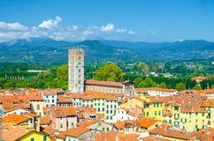 切萨di圣Frediano天主教会钟楼空中顶面全景在历史中心中世纪镇卢卡 免版税库存图片