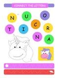 Łączy listy Printable worksheet dla preschool i dziecina dzieciaków Abecadło uczenie kolorystyka i listy Wektorowy illus ilustracji