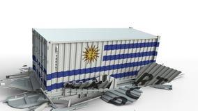 Ładunku zbiornik z flagą Urugwaj łama zbiornika z EKSPORTOWYM tekstem Konceptualna 3D animacja zbiory